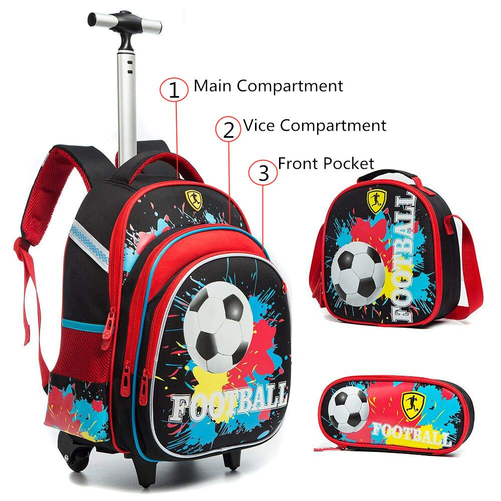 Meetbelify Girls Unicorn Rolling Backpacks Kids Backpack with Wheels for Girls School Bags with Lunch Box (Football) - backpacks4less.com