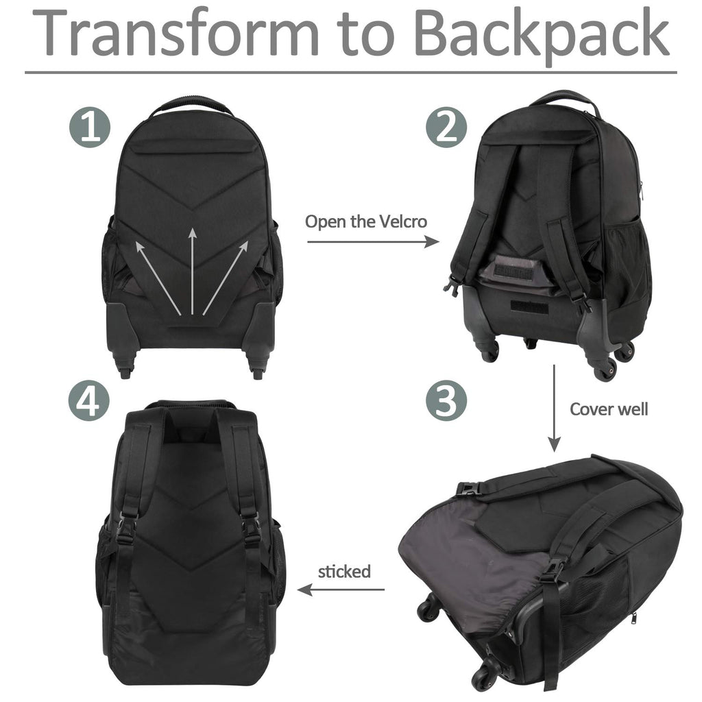 Rolling Backpack for Travel, 4 Wheels Laptop Backpack for Women Men, Water Resistant Business Large Wheeled Backpacks Fits 15.6 Inch Notebook, MATEIN School Luggage Suitcase Bag with Pockets - backpacks4less.com