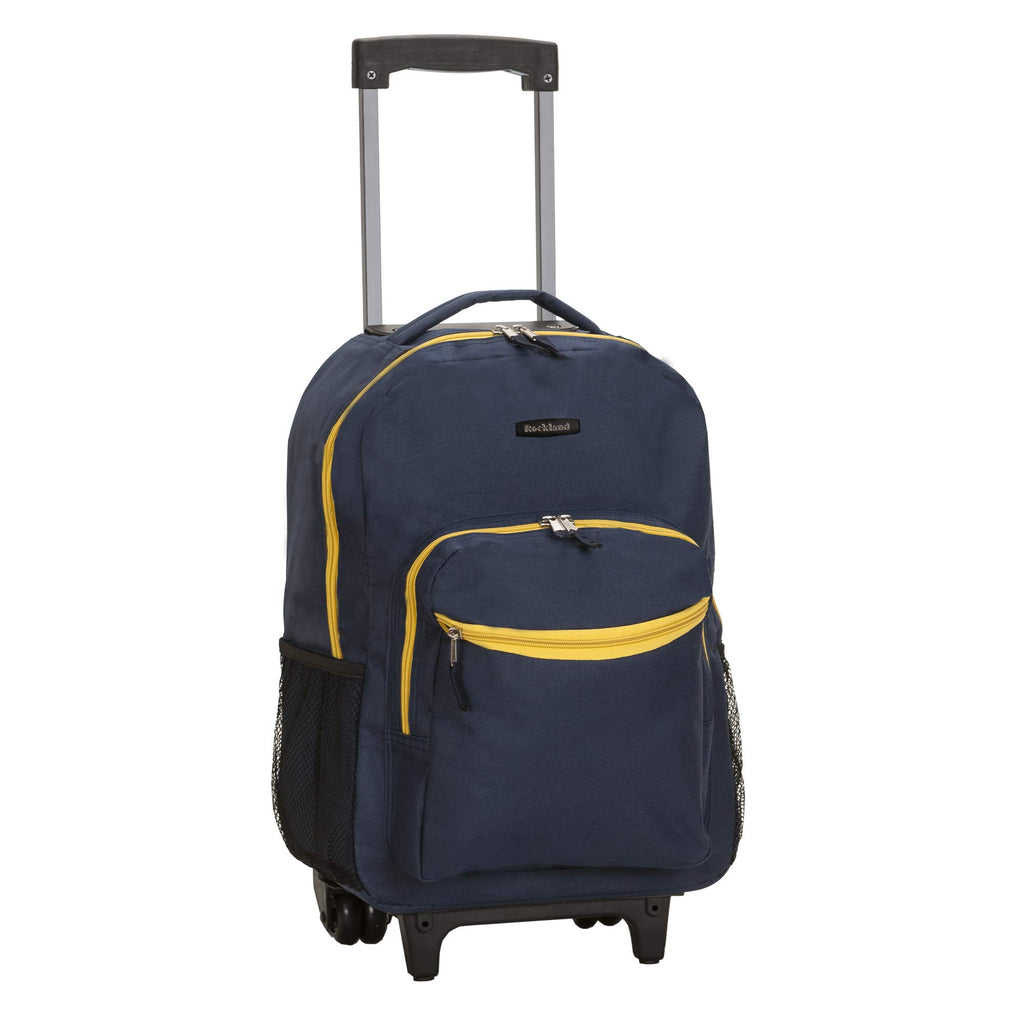 Rockland Luggage 17 Inch Rolling Backpack, Navy, One Size - backpacks4less.com