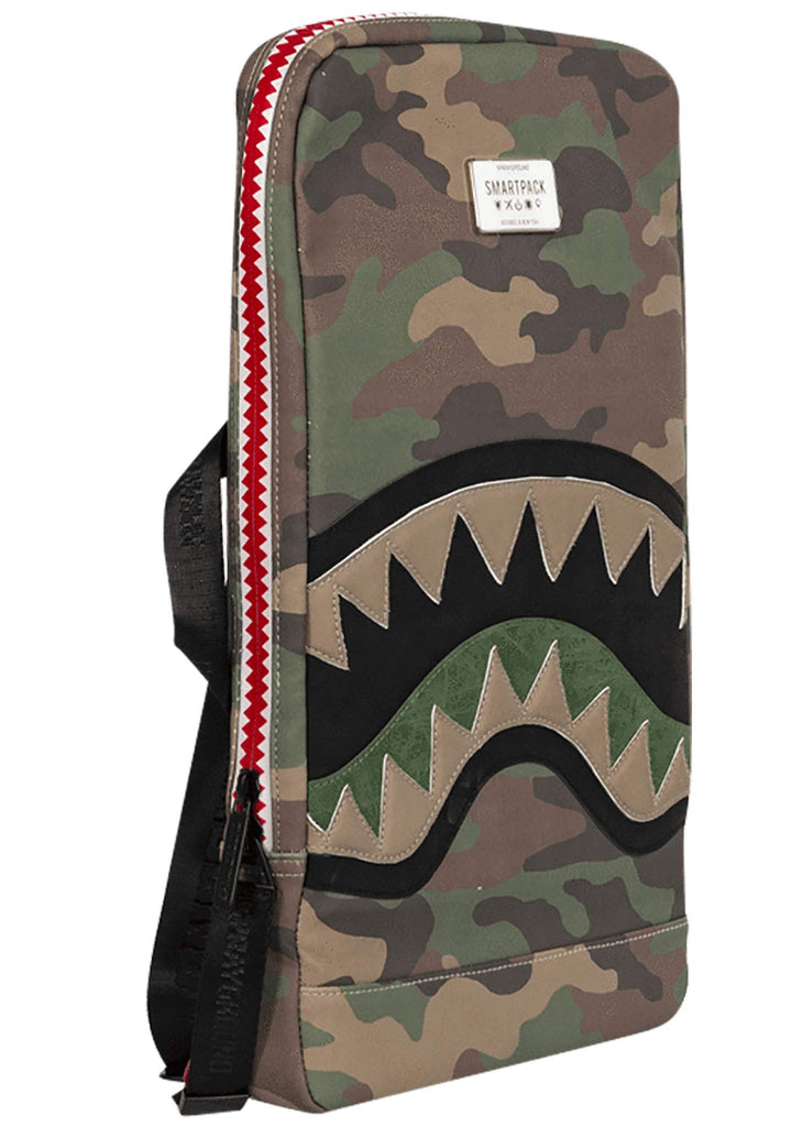 Sprayground Cut & Sew Shark Smart Backpack in Green/Brown Camo - backpacks4less.com