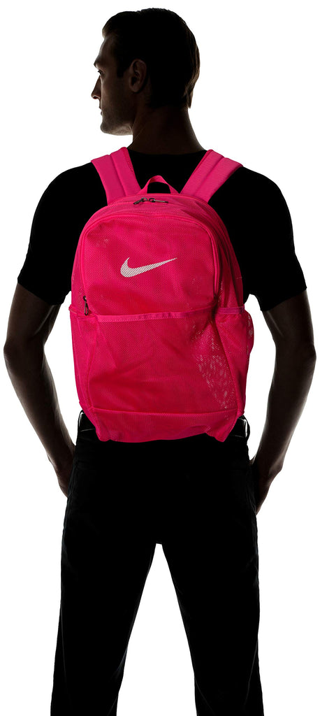 NIKE Brasilia Mesh Backpack 9.0, Rush Pink/Rush Pink/White, Misc - backpacks4less.com