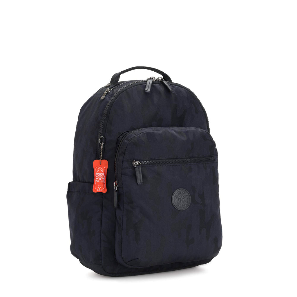 "Kipling Seoul Large 15"" Laptop Backpack Blue Camo - backpacks4less.com"