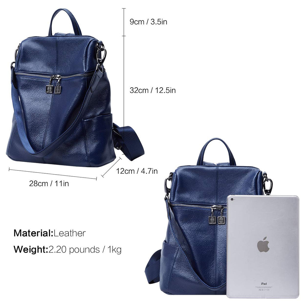 BOYATU Convertible Genuine Leather Backpack Purse for Women Fashion Travel Bag Blue-02 - backpacks4less.com