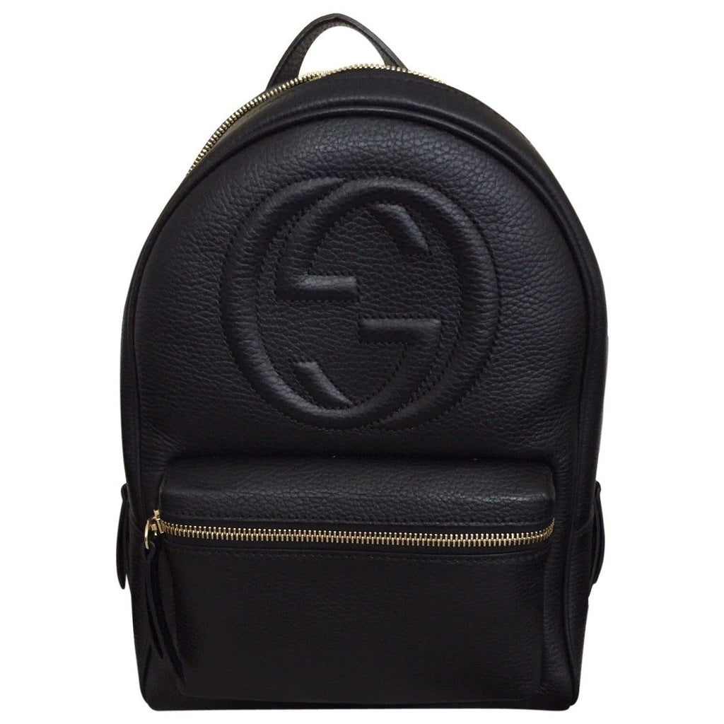 Gucci Soho Black Backpack Calf Leather Backpack Ladies Bag Italy New - backpacks4less.com