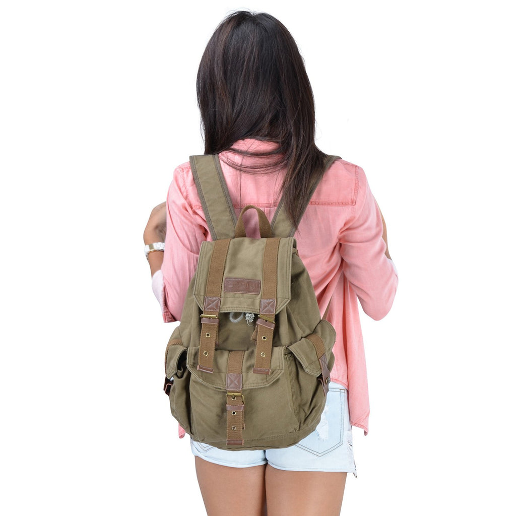 Gootium 21101AMG-S Specially High Density Thick Canvas Backpack Rucksack, Army Green Size Small - backpacks4less.com