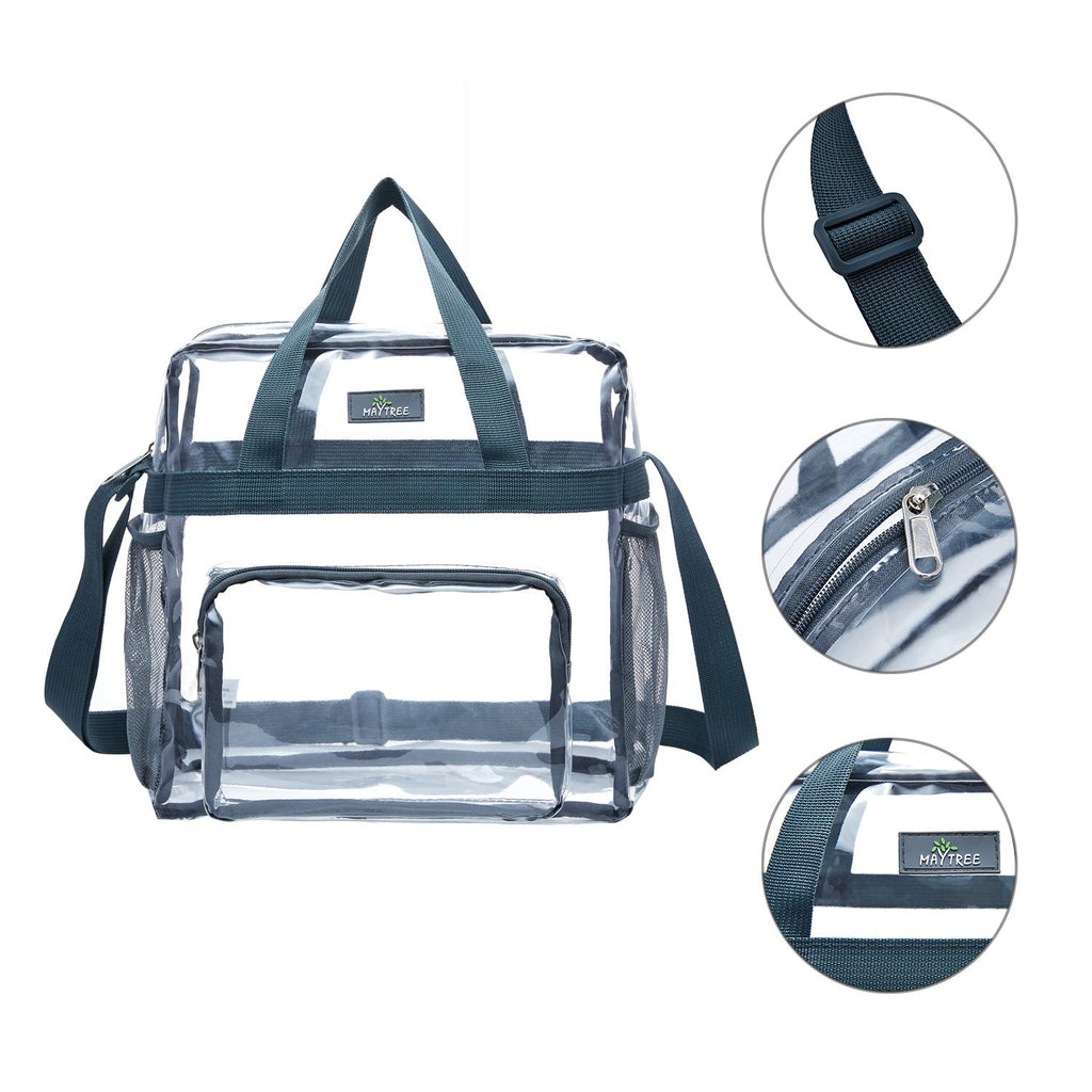 MAY TREE Clear Bag Stadium Approved, Cold-Resistant, Lightweight and Waterproof, Transparent Tote Bag and Gym Clear Bag, See Through Tote Bag for Work, Sports Games and Concerts-12 x12 x6 (Gray) - backpacks4less.com