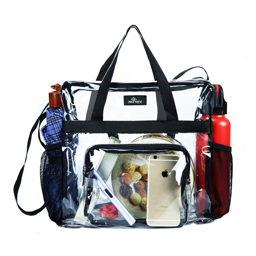 MAY TREE Clear Bag Stadium Approved, Cold-Resistant, Lightweight and Waterproof, Transparent Tote Bag and Gym Clear Bag, See Through Tote Bag for Work, Sports Games and Concerts-12 x12 x6 (Black-L) - backpacks4less.com