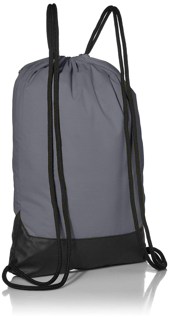 Nike Brasilia Training Gymsack, Drawstring Backpack with Zipper Pocket and Reinforced Bottom, Flint Grey/Flint Grey/White - backpacks4less.com