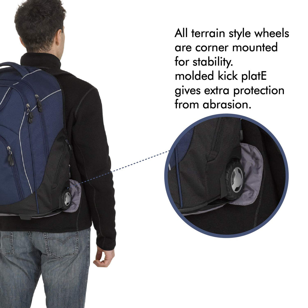 High Sierra Powerglide Lightweight Wheeled Laptop Backpack, fits most 17-inch laptop models, Ideal for High School and College Students True Navy/Black - backpacks4less.com