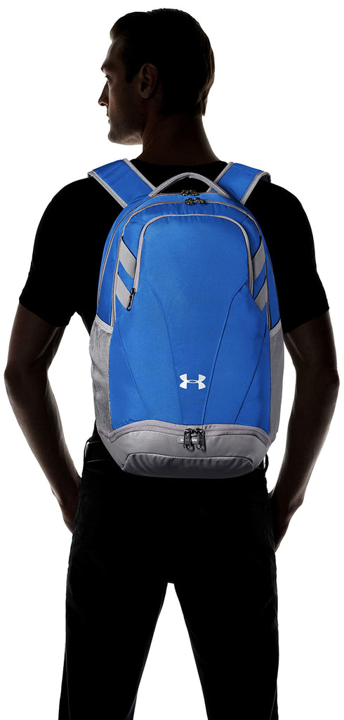 Under Armour Team Hustle 3.0 Backpack, Royal (400)/Gray, One Size Fits All - backpacks4less.com