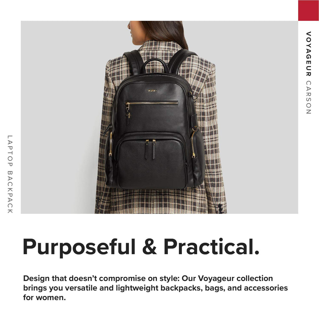 TUMI - Voyageur Carson Leather Laptop Backpack - 15 Inch Computer Bag for Women - Black - backpacks4less.com