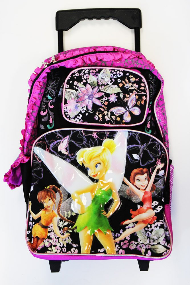 Full Size Black and Pink Ruffles Tinkerbell Rolling Backpack - Tinkerbell Kids Luggage with Wheels - backpacks4less.com