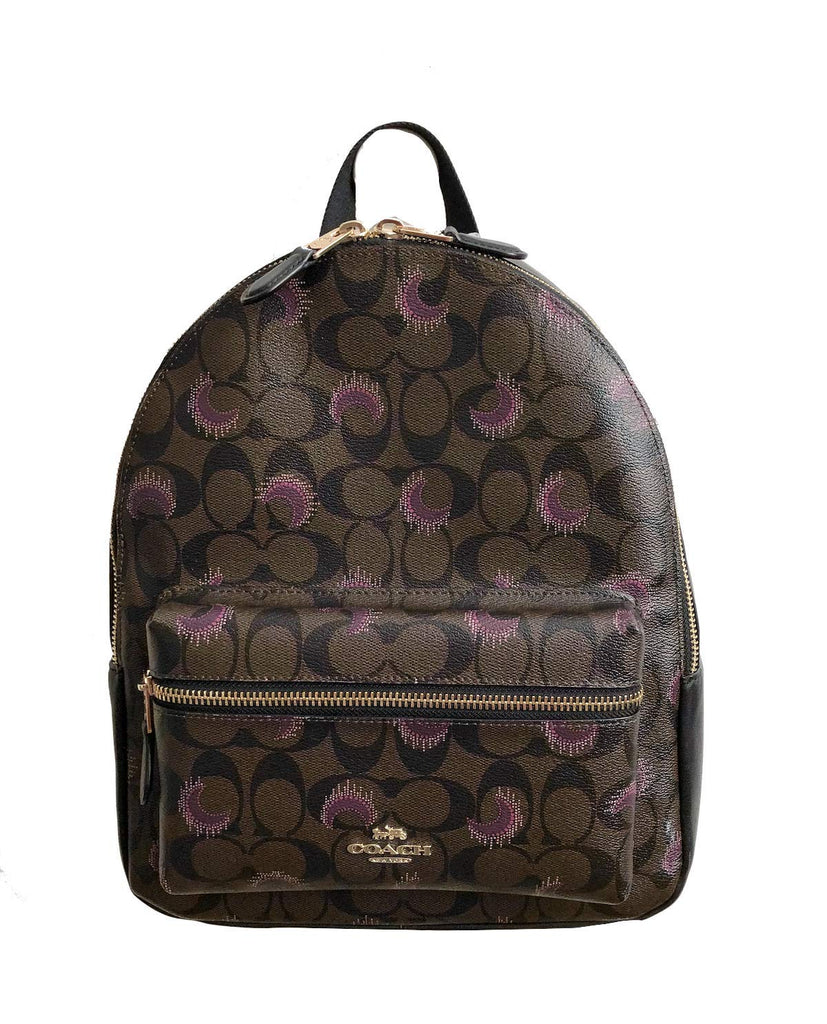 Coach Pebbled Leather Medium Charlie Backpack Tote (Brown Purple Multi) - backpacks4less.com
