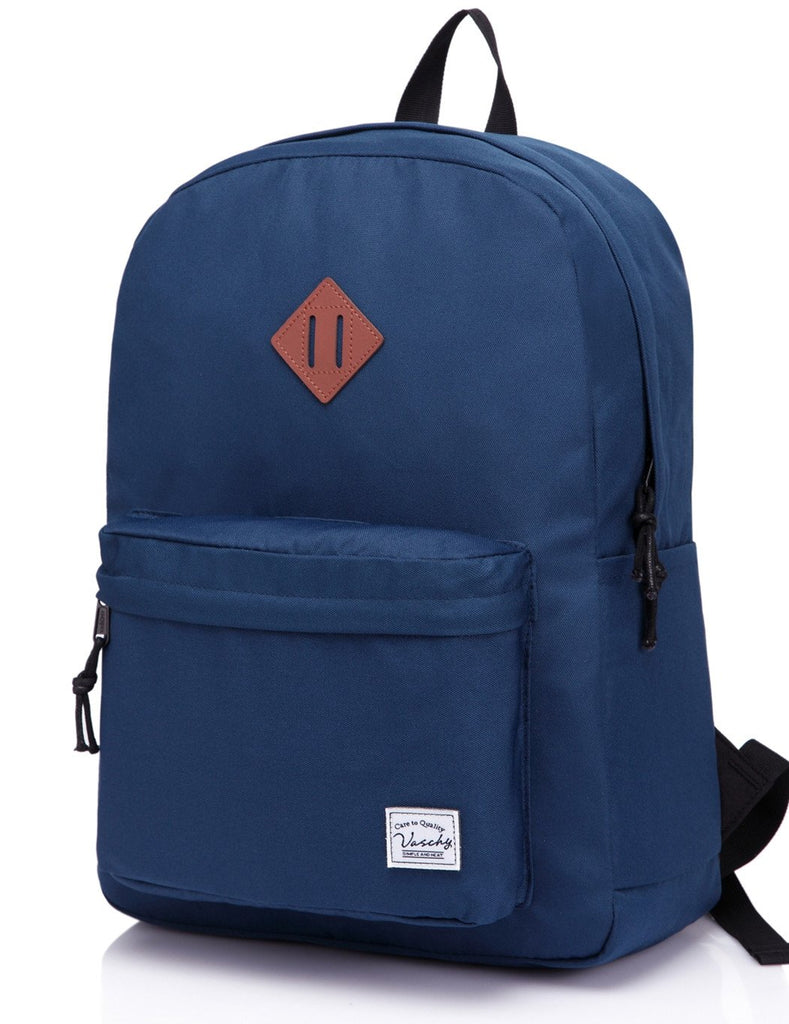 Lightweight Backpack for School, VASCHY Classic Basic Water Resistant Casual Daypack for Travel with Bottle Side Pockets (Navy) - backpacks4less.com
