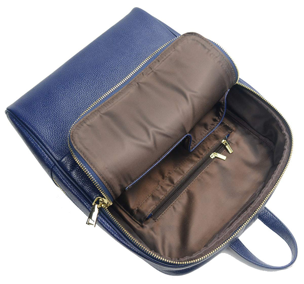 Coolcy Hot Style Women Real Genuine Leather Backpack Fashion Bag (Royal Blue) - backpacks4less.com