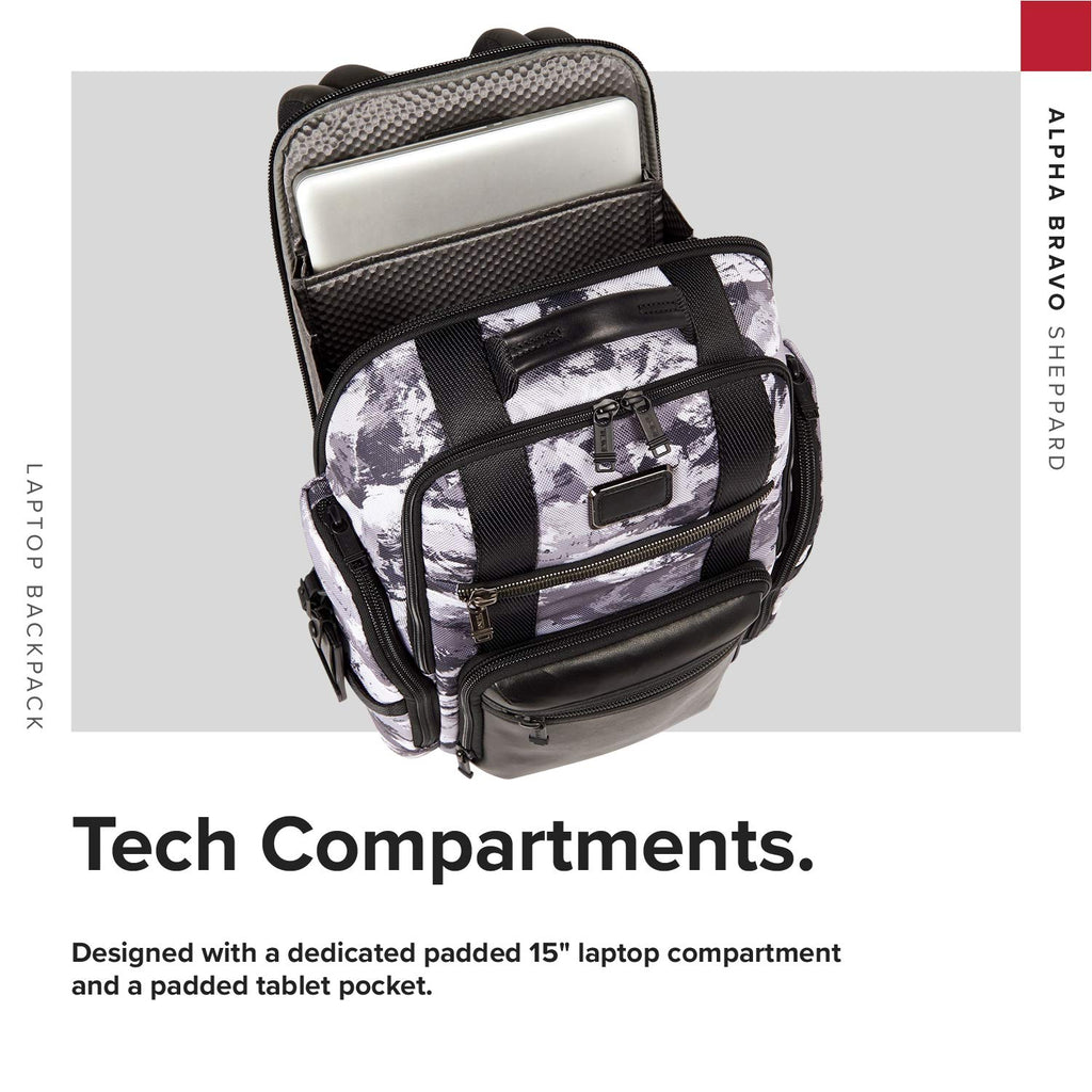 TUMI - Alpha Bravo Sheppard Deluxe Brief Pack Laptop Backpack - 15 Inch Computer Bag for Men and Women - Arctic Restoration - backpacks4less.com