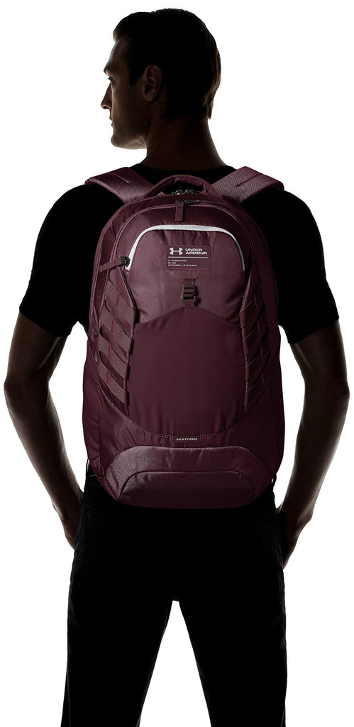Under Armour Hudson Backpack, Dark Maroon (600)/Overcast Gray, One Size Fits All Fits All - backpacks4less.com