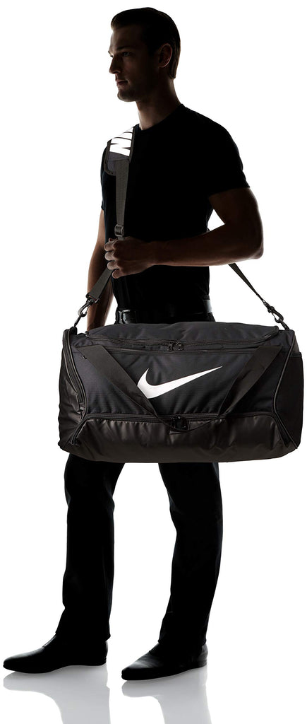 Nike Brasilia Training Medium Duffle Bag, Durable Nike Duffle Bag for Women & Men with Adjustable Strap, Black/Black/White - backpacks4less.com