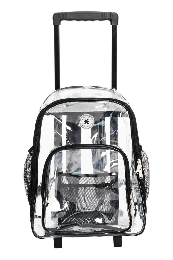 Rolling Clear Backpack Heavy Duty Bookbag Quality See Through Workbag Travel Daypack Transparent School Book Bags with Wheels Black - backpacks4less.com
