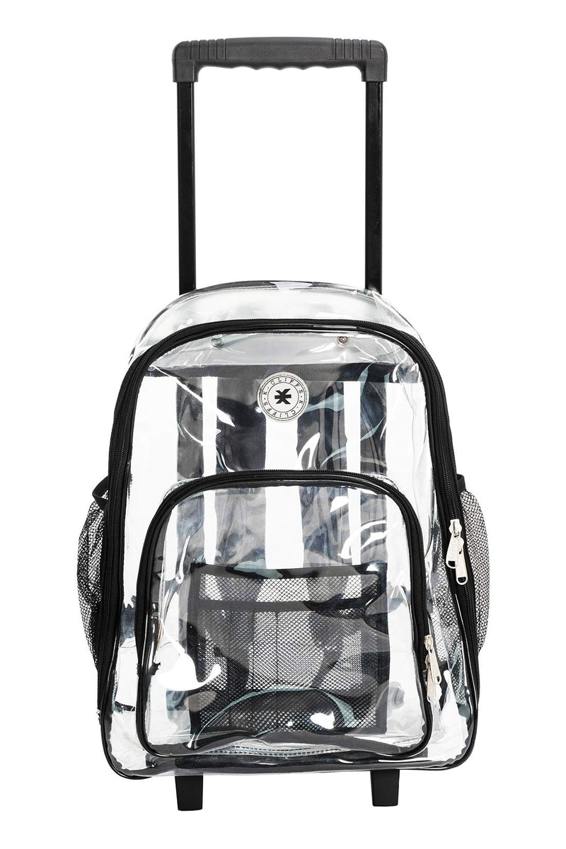 L 16 Gray Heavy Duty Clear Backpack Transparent See Through Vinyl Plastic Bookbag for School,Stadium,Security,Work,Travel,College,Concert