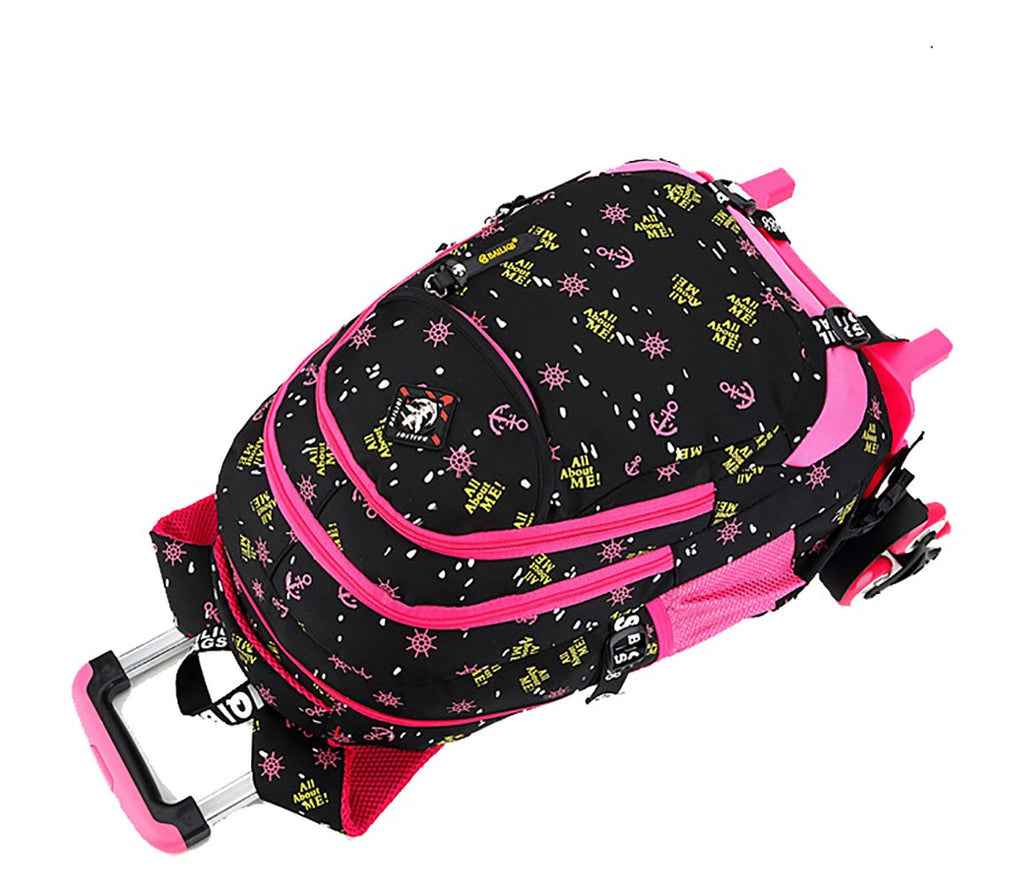 Meetbelify Girls Rolling Backpack with Wheels Big Kids Wheel Backpack for Girls - backpacks4less.com