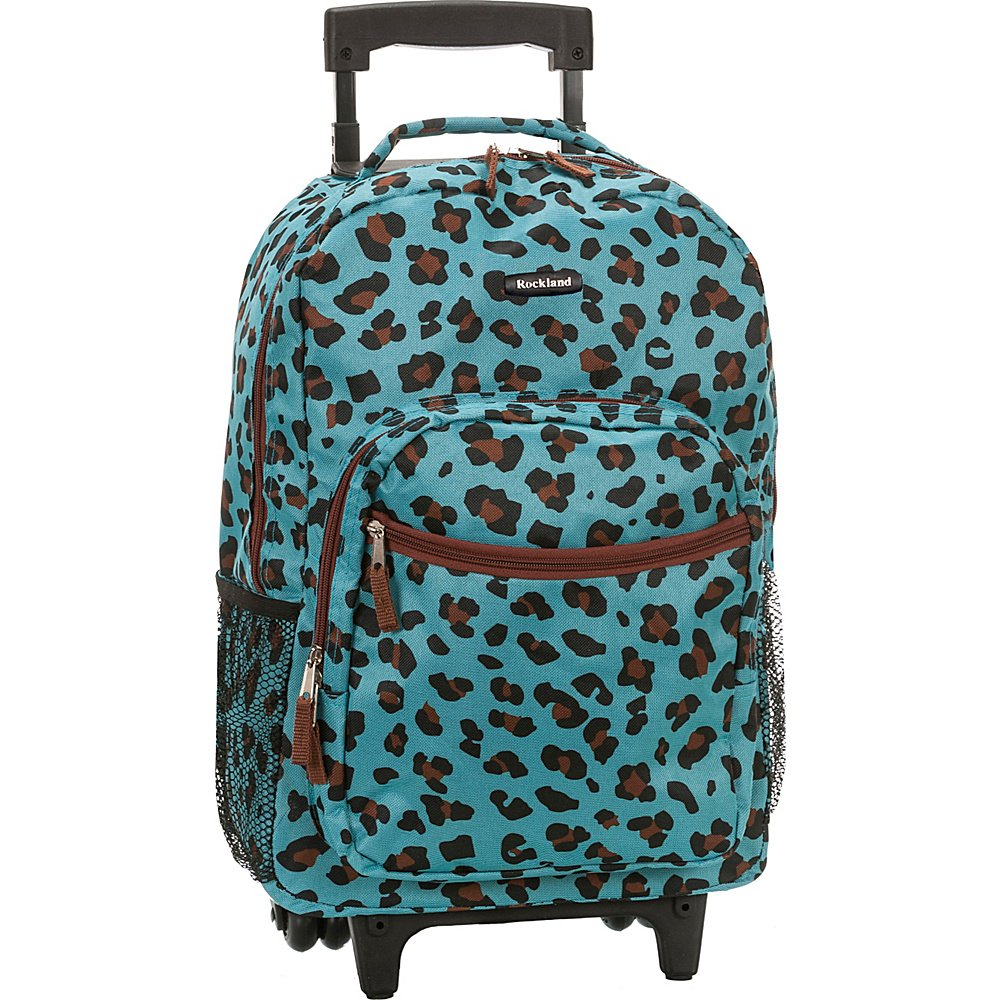 Rockland Luggage 17 Inch Rolling Backpack, Leopard Blue - backpacks4less.com