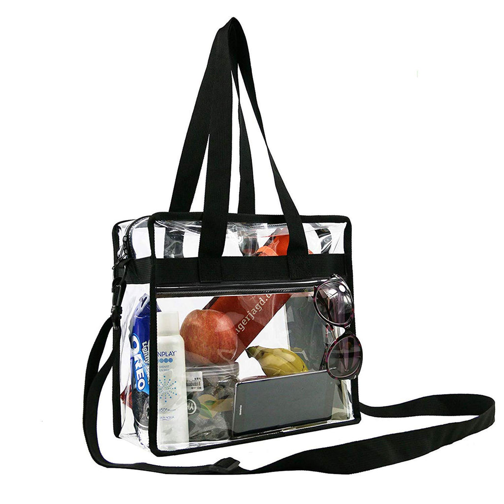 BeeGreen Stadium Clear Bags w Front Pocket and Adjustable Shoulder Carry Handles, NCAA NFL & PGA Security Approved Clear Purse & Gym Transparent Zippered Tote Bag - backpacks4less.com