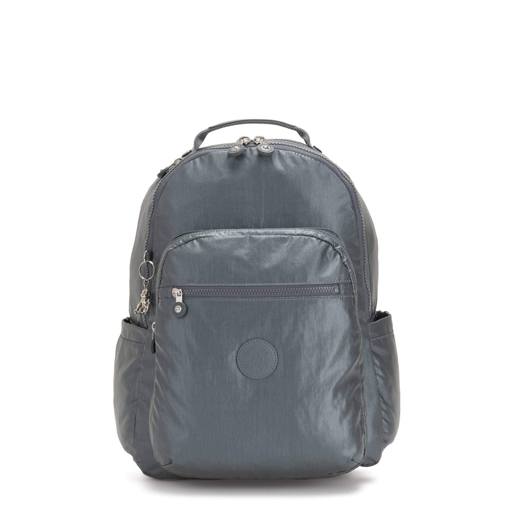 "Kipling Seoul Large 15"" Laptop Metallic Backpack Steel Gr Metal - backpacks4less.com"
