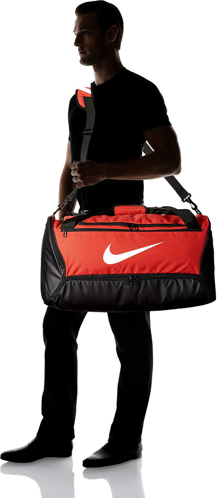 Nike Brasilia Training Medium Duffle Bag, Durable Nike Duffle Bag for Women & Men with Adjustable Strap, University Red/Black/White - backpacks4less.com
