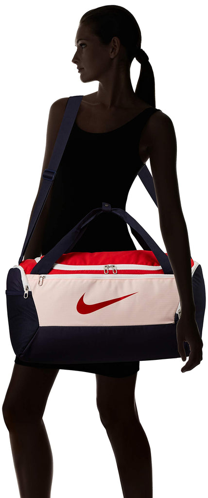 Nike Nike Brasilia Small Duffel - 9.0, Echo Pink/University Red/Dynamic Yellow, Misc - backpacks4less.com