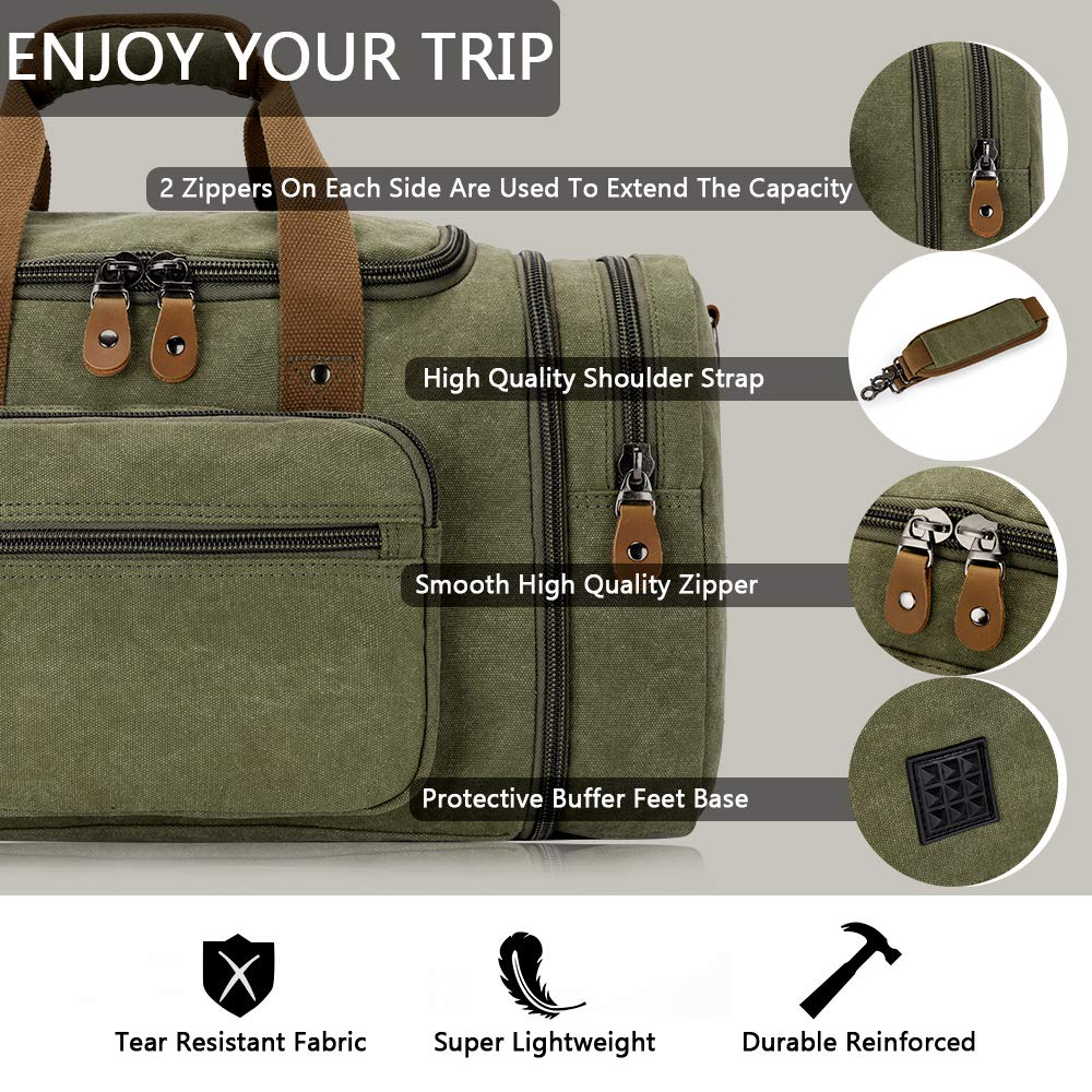 Plambag Canvas Duffle Bag for Travel, 50L Duffel Overnight Weekend Bag(Army Green) - backpacks4less.com