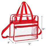 "Clear Bag Stadium Approved,NCAA NFL&PGA Security Approved Clear Tote Bag with Multi-Pockets and Adjustable Shoulder Strap,Perfect for Work, School, Sports Games and Concerts-12"" x 12"" x 6"" - backpacks4less.com"