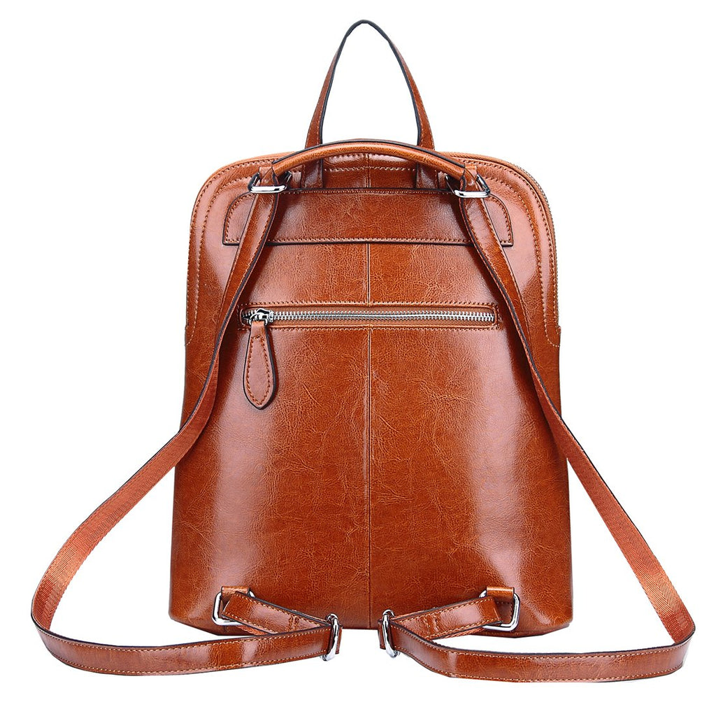 Heshe Women's Vintage Leather Backpack Casual Daypack for Ladies and Girls (Brown-R-S) - backpacks4less.com