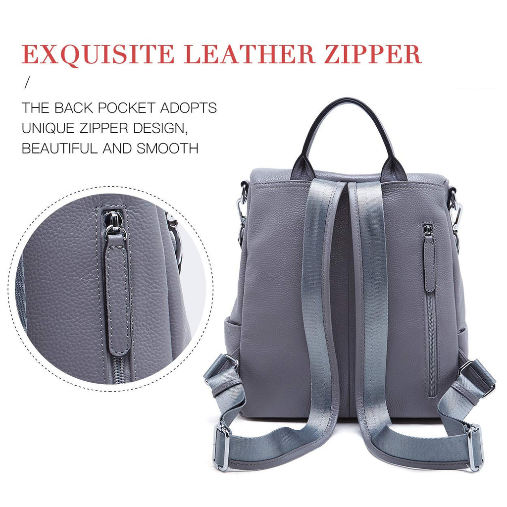 BOYATU Convertible Genuine Leather Backpack Purse for Women Fashion Travel Bag Grey-03 - backpacks4less.com