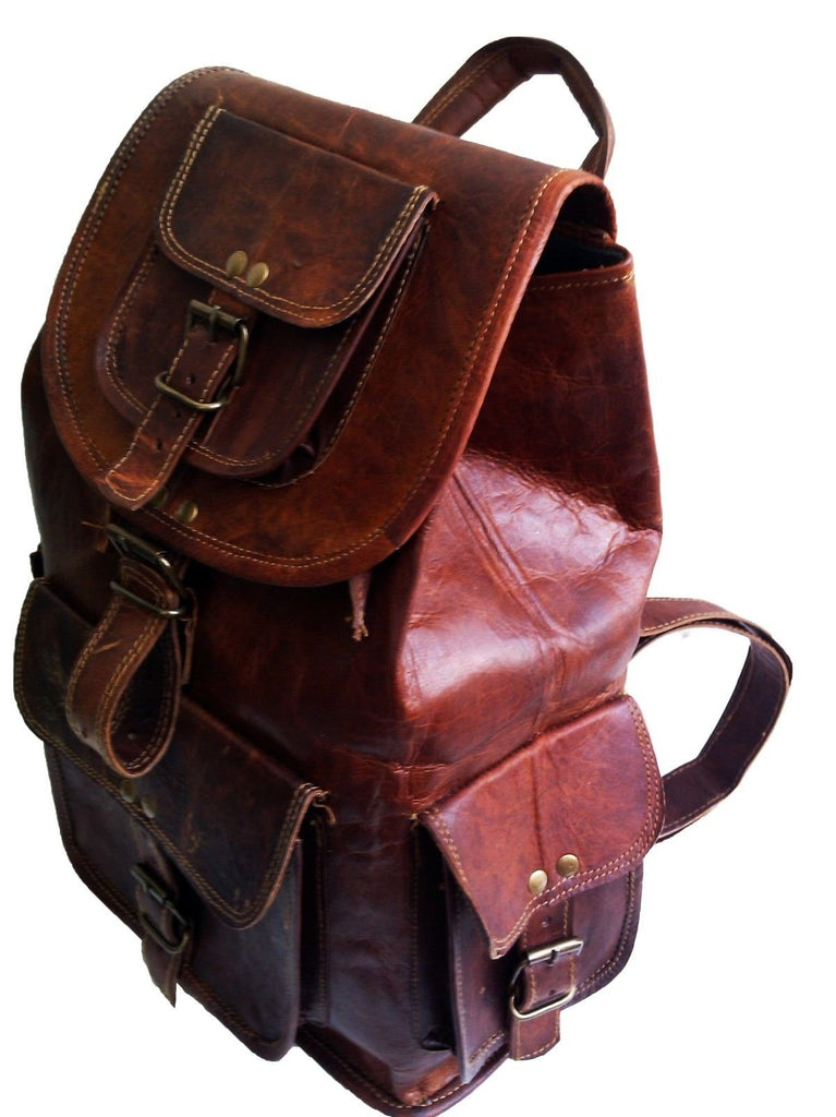 "18"" Leather Backpack Travel rucksack knapsack daypack Bag for men women - backpacks4less.com"