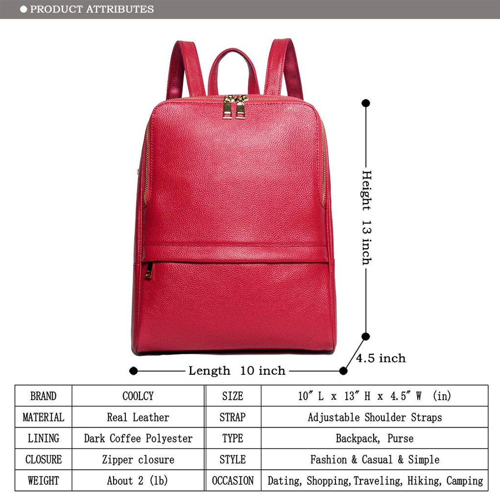Coolcy Hot Style Women Real Genuine Leather Backpack Fashion Bag (Rose) - backpacks4less.com