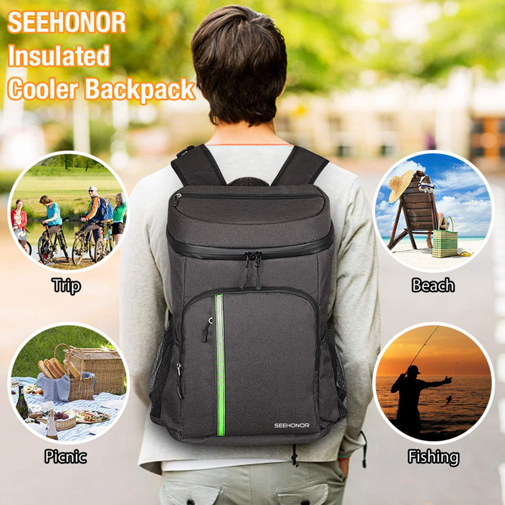 SEEHONOR Insulated Cooler Backpack Leakproof Soft Cooler Bag Lightweight Backpack with Cooler for Lunch Picnic Hiking Camping Beach Park Day Trips, 30 Cans (Black) - backpacks4less.com