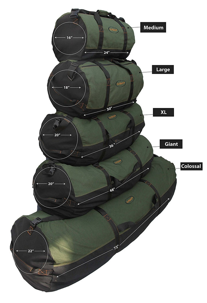 "Ledmark Heavyweight Cotton Canvas Outback Duffle Bag, Green, Giant 48"" x 20"" - backpacks4less.com"