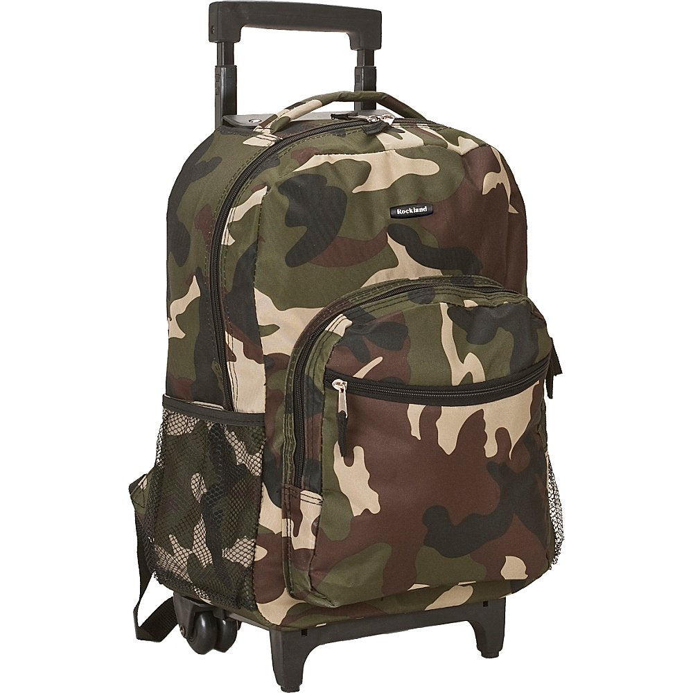 Rockland Luggage 17 Inch Rolling Backpack, Green CAMO - backpacks4less.com