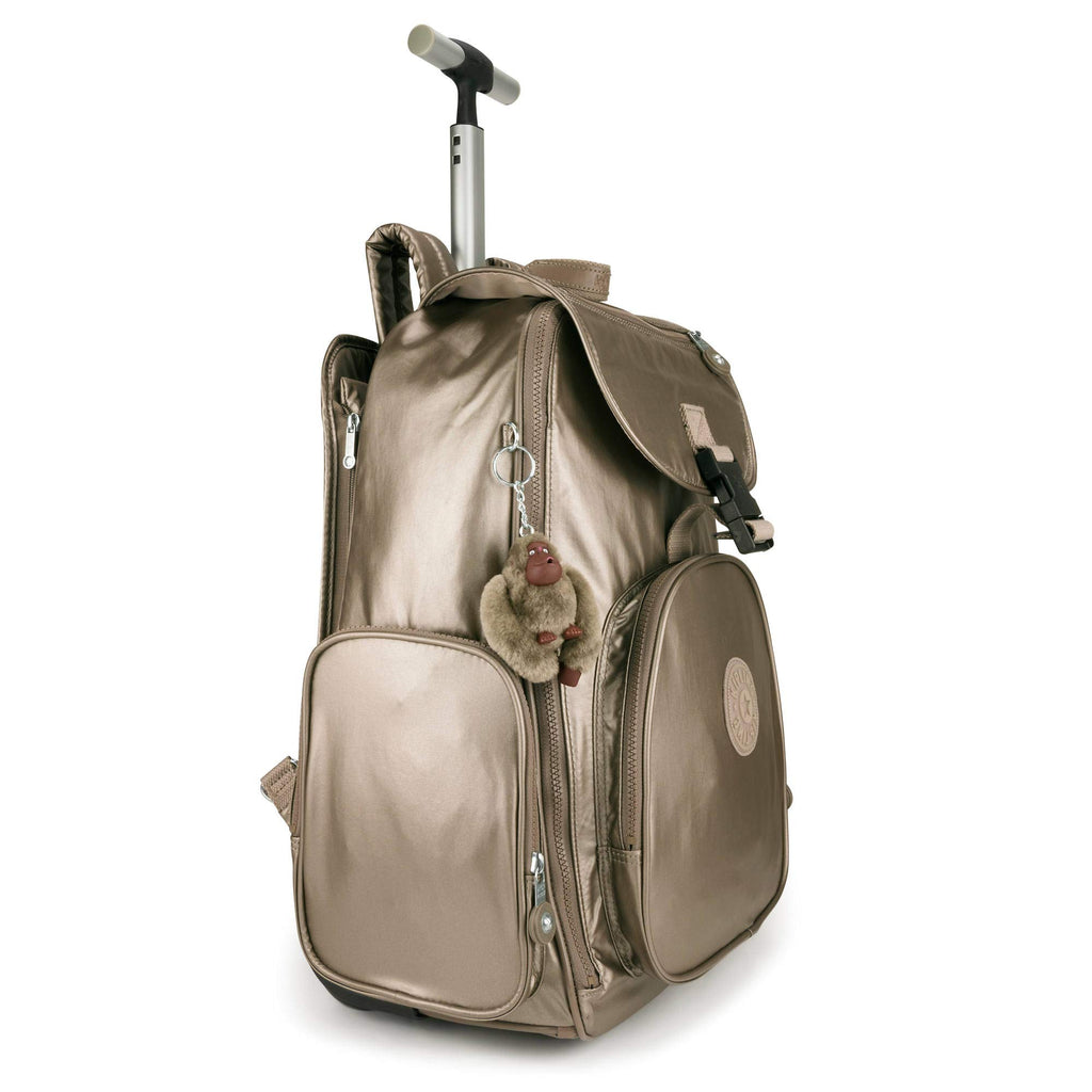 Kipling Alcatraz II Metallic Large Rolling Laptop Backpack Metallic Pewter - backpacks4less.com