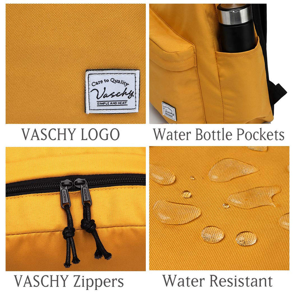 Lightweight Backpack for School, VASCHY Classic Basic Water Resistant Casual Day-pack for Travel with Bottle Side Pockets (Gold) - backpacks4less.com