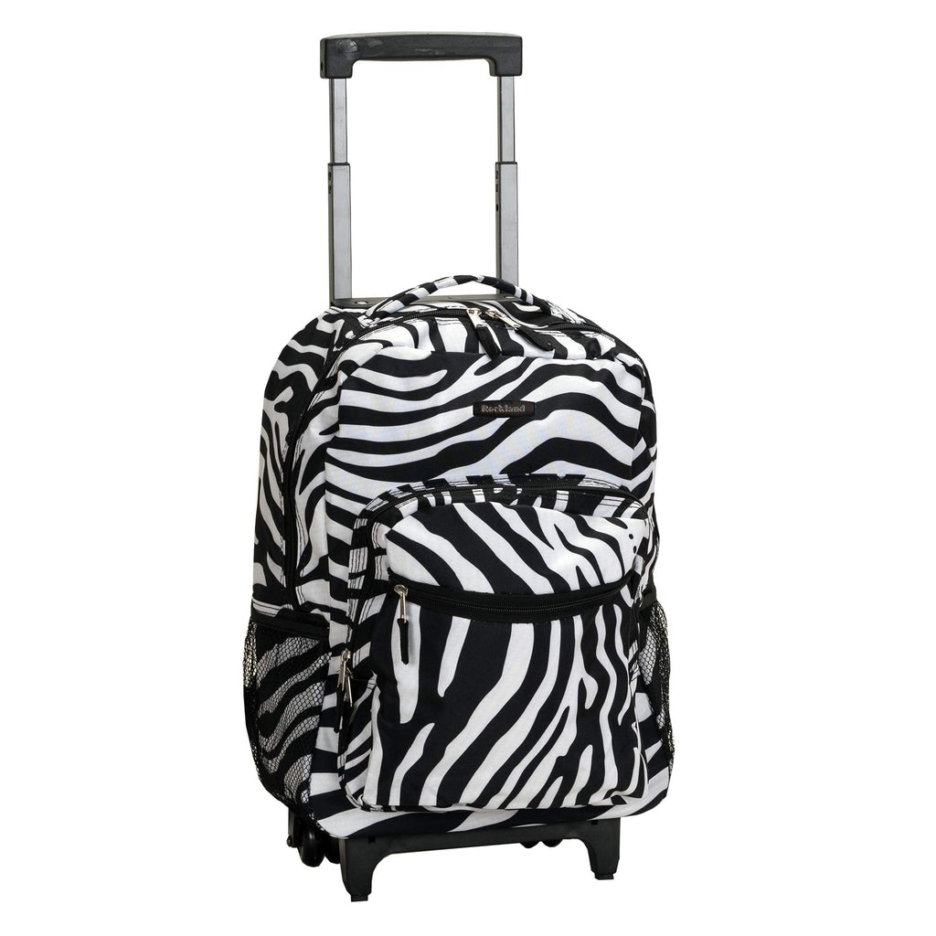 Rockland Luggage 17 Inch Rolling Backpack, Zebra, One Size - backpacks4less.com