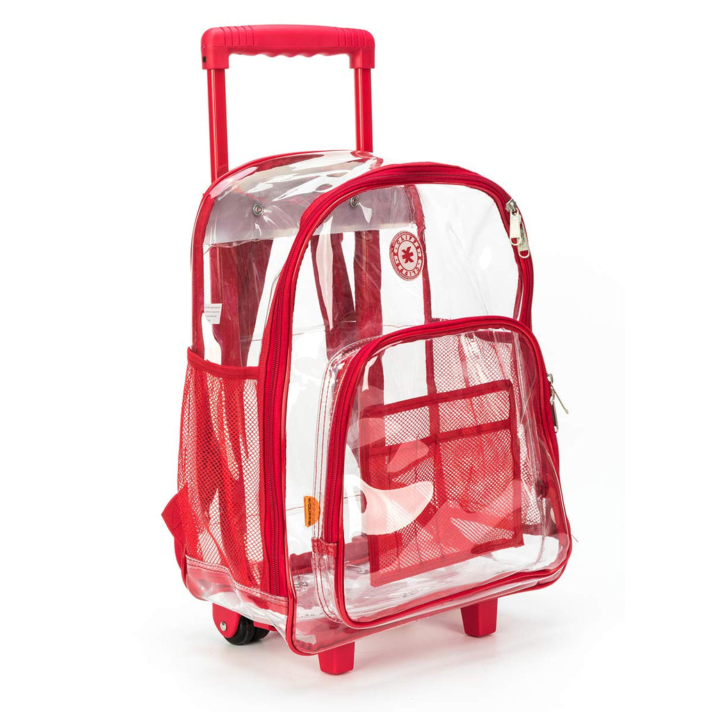 Rolling Clear Backpack Heavy Duty Bookbag Quality See Through Workbag Travel Daypack Transparent School Book Bags with Wheels Red - backpacks4less.com