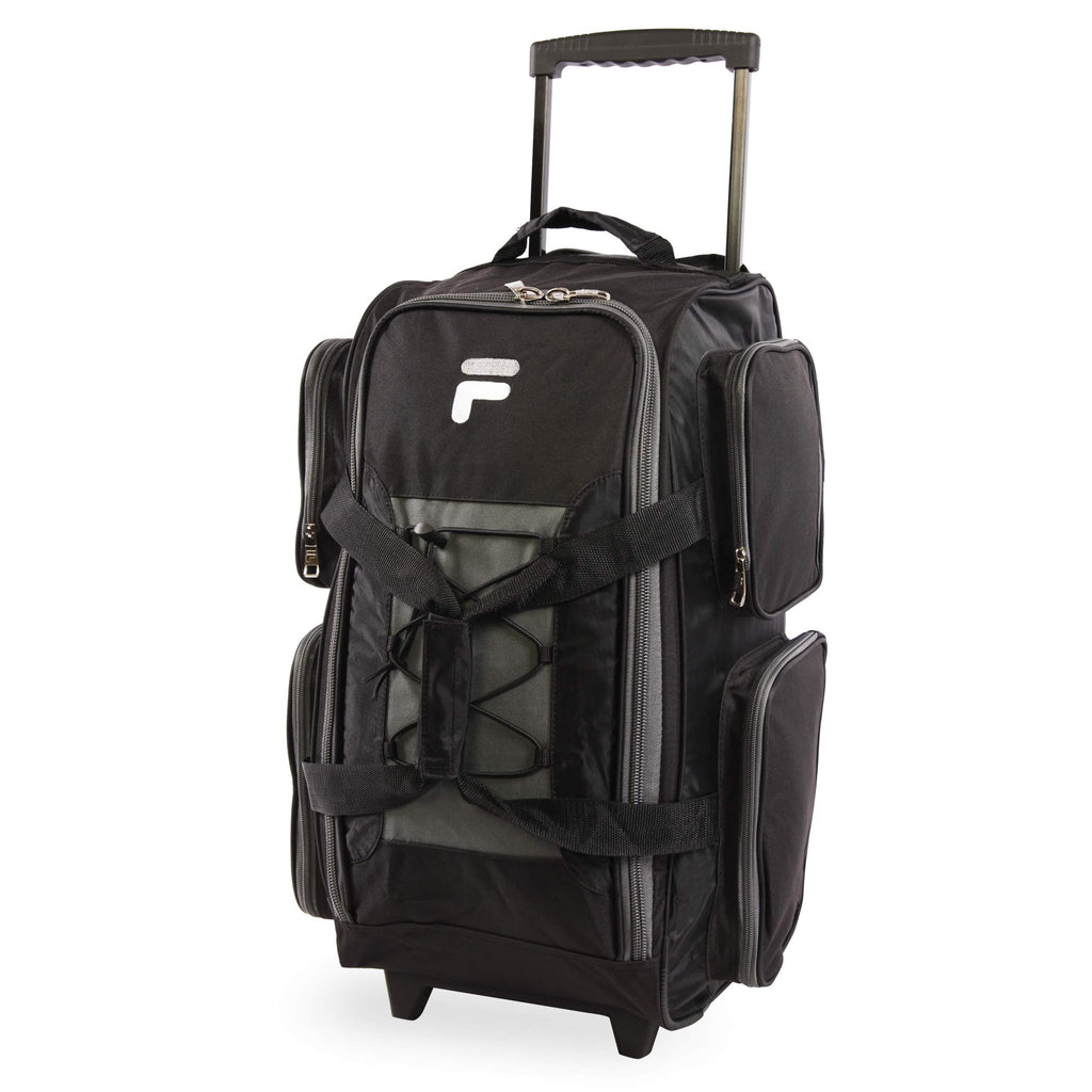 "Fila 22"" Lightweight Carry On Rolling Duffel Bag, Black, One Size - backpacks4less.com"