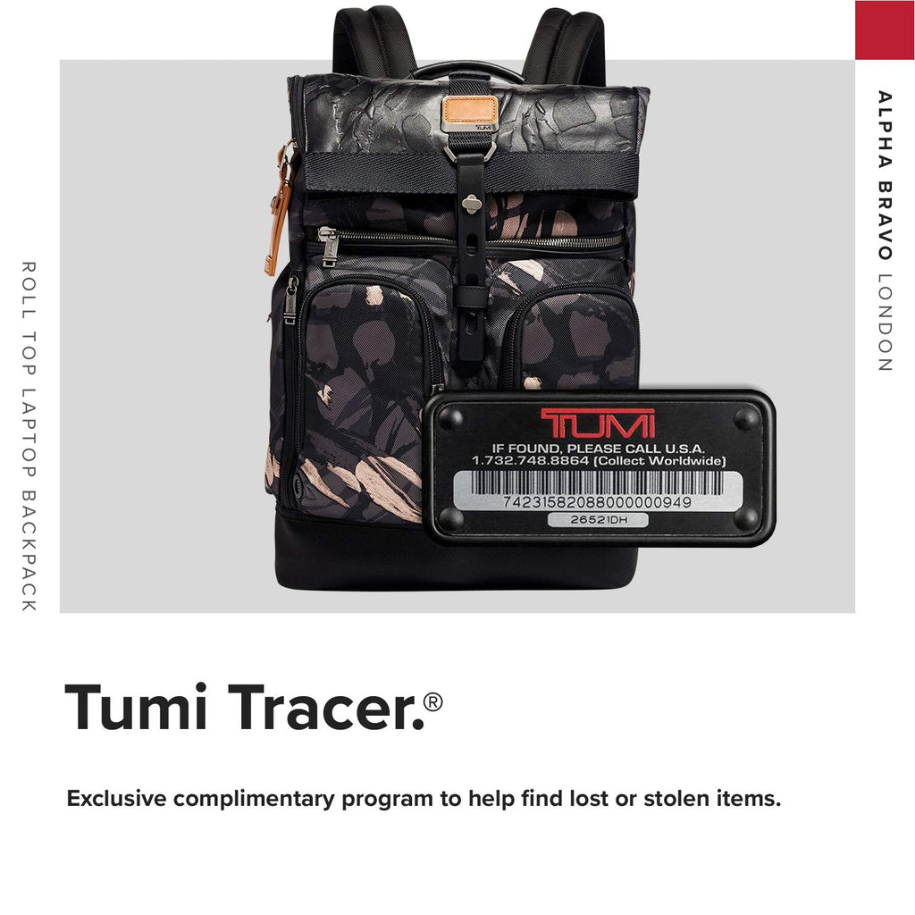 TUMI - Alpha Bravo London Roll Top Laptop Backpack - 15 Inch Computer Bag for Men and Women - Grey Highlands Print - backpacks4less.com