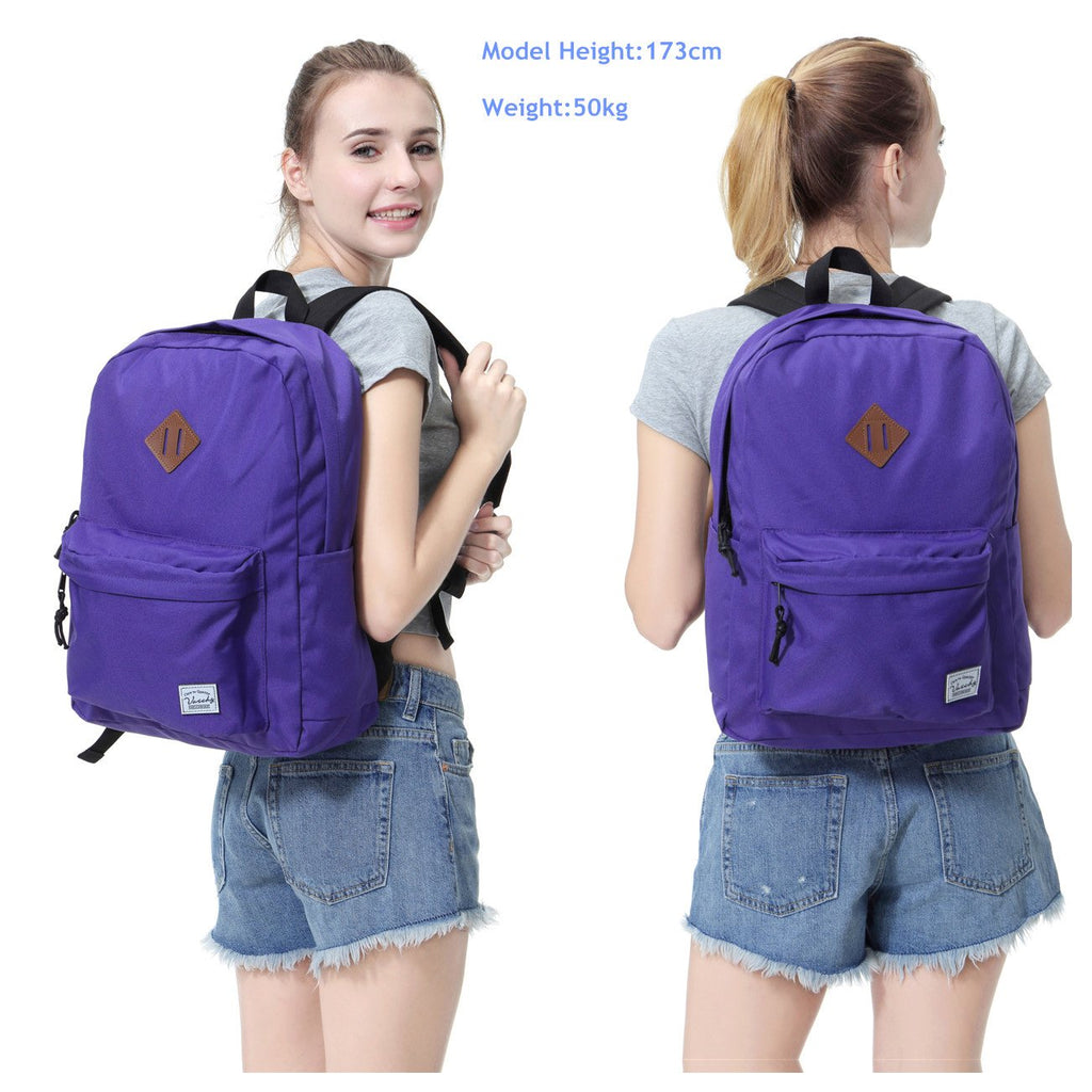 Lightweight Backpack for School, VASCHY Classic Basic Water Resistant Casual Daypack for Travel with Bottle Side Pockets (Purple) - backpacks4less.com