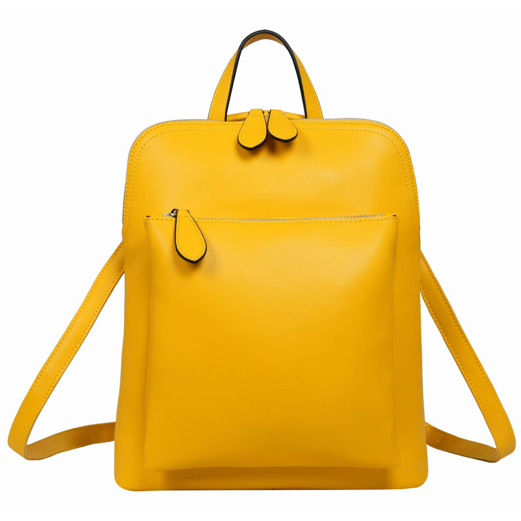 Heshe Women's Vintage Leather Backpack Casual Daypack for Ladies and Girls (Yellow) - backpacks4less.com