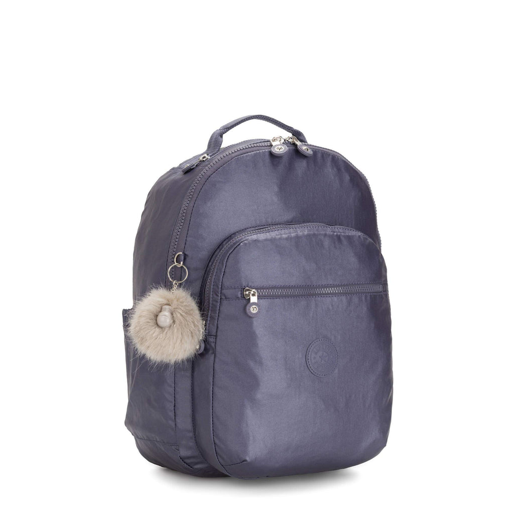"Kipling Seoul Large 15"" Laptop Metallic Backpack Enchanted Purple Metallic - backpacks4less.com"