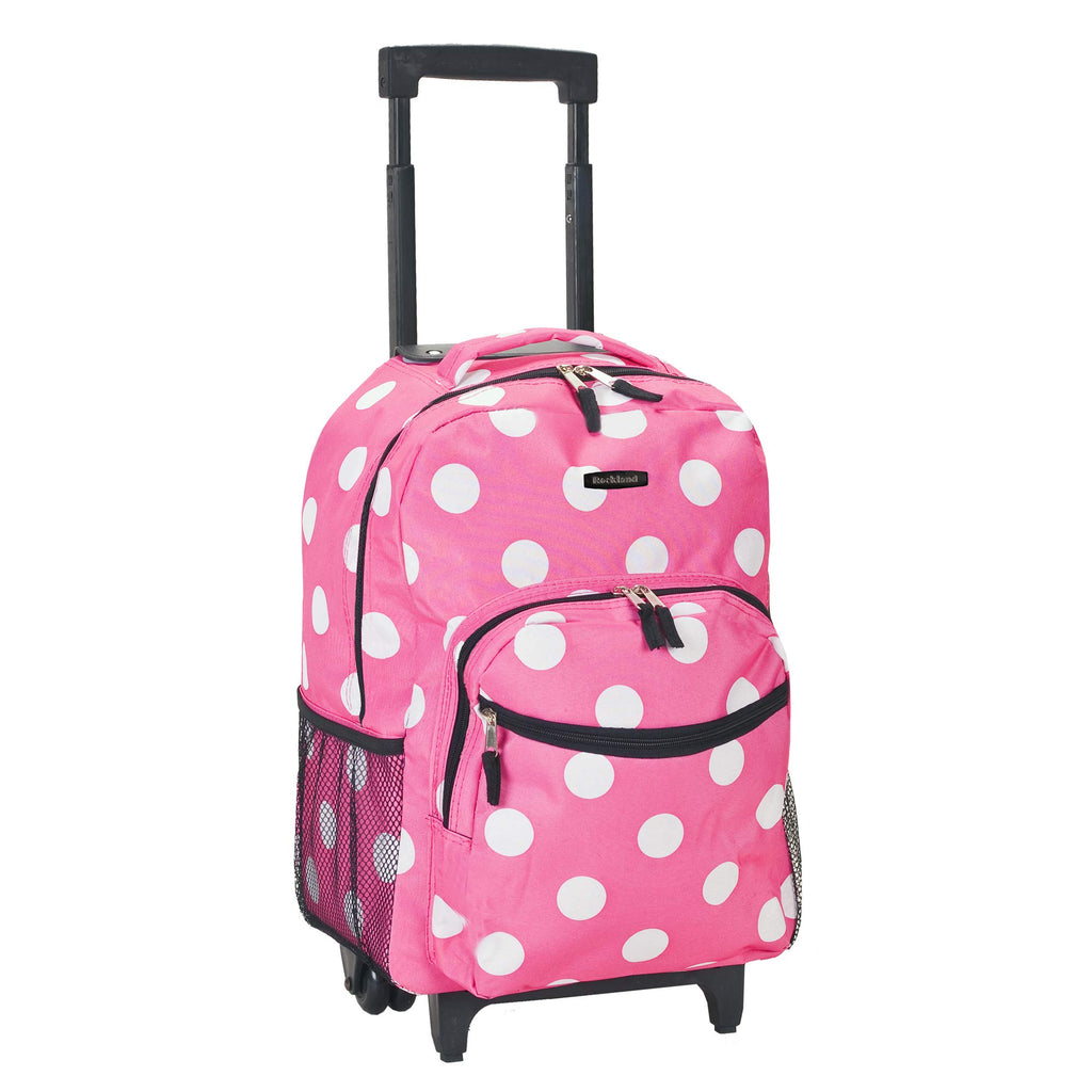Rockland Luggage 17 Inch Rolling Backpack, Pink Dot, Medium - backpacks4less.com