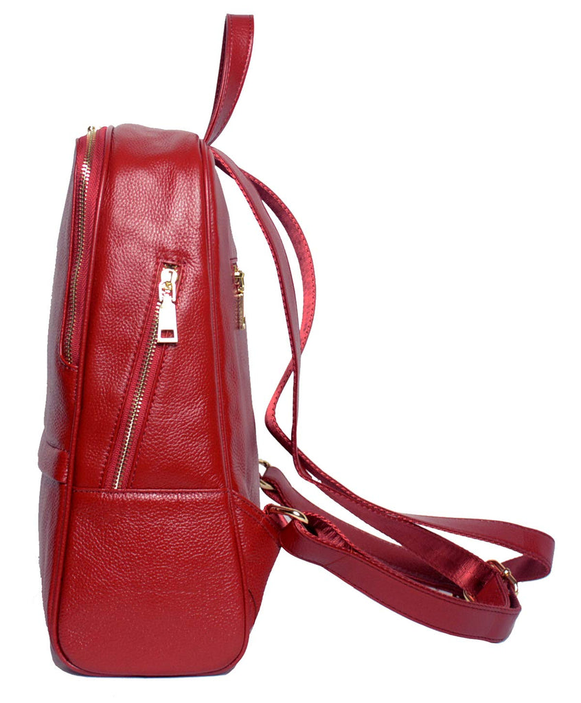Coolcy Hot Style Women Real Genuine Leather Backpack Fashion Bag (Wine) - backpacks4less.com